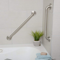 900mm Straight Grab Rails I Shape Bathroom Bar Satin Finish Handicap Disabled Toilet 32mm Diameter Stainless Steel Tub