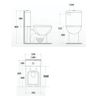655x370x805mm Cubo Closed Couple Toilet Suite Ceramic White Box Rim