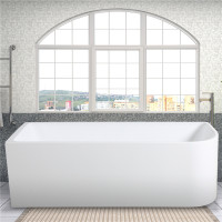 1500x730x510mm Bathtub Left Corner Back to Wall Acrylic Gloss White Bath tub