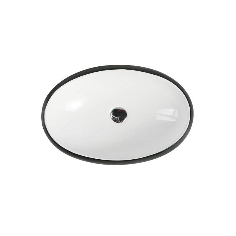 610x410x150mm oval black & white above counter ceramic basin round edge un-ch-33-bw
