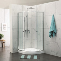 790x790/900x900/1000x1000mm Curved Shower Screen Double Sliding Chrome Aluminum Framed 6mm Tempered Glass