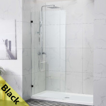 From 300 to 1200x2000mm Black Bracket Frameless Shower Screen Single Door Fixed Panel 10mm Tempered Glass Left or Right Side