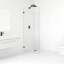 From 400 to 1200x2000mm Black Bracket Frameless Shower Screen Single Door Fixed Panel 10mm Tempered Glass Left or Right Side