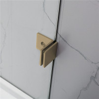 From 400 to 1200x2000mm Brushed Gold Bracket Frameless Shower Screen Single Door Fixed Panel 10mm Tempered Glass
