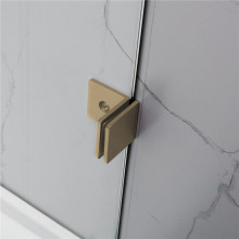 From 300 to 1200x2000mm Brushed Gold Bracket Frameless Shower Screen Single Door Fixed Panel 10mm Tempered Glass