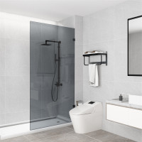 From 900 to 1200x2000mm Grey Glass Black Bracket Frameless Shower Screen Single Door Fixed Panel 10mm Tempered Glass Left or Right Side