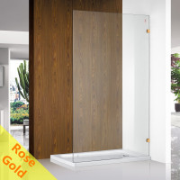From 400 to 1200x2000mm Rose Gold Bracket Frameless Shower Screen Single Door Fixed Panel 10mm Tempered Glass Left or Right Side