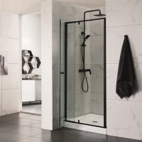 750-1180x1900mm Shower Screen Framed Pivot Door Wall to Wall Adjustable Black Aluminum Frame 6mm Glass