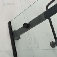 1180-2000x2000mm Sliding Shower Screen L Shape Frameless Black Stainless Steel Square Rail 10mm Glass SS304 Square Handle