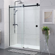 950-1180x2000mm Wall to Wall Sliding Shower Screen Frameless BLACK Stainless Steel Square Rail 10mm Glass SS304 Round Handle