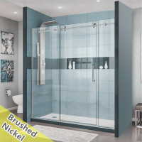 2000-2500x2000mm Frameless Shower Screen Wall to Wall Sliding Door Brushed Nickel Frame and Roller 10mm Safety Glass 3 Panels