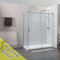 1180-2000x2000mm Sliding Shower Screen L Shape Frameless Brushed Nickel Stainless Steel Square Rail 10mm Glass SS304 Square Handle