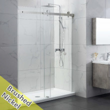 950-1180x2000mm Wall to Wall Sliding Shower Screen Frameless Brushed Nickel Stainless Steel Square Rail 10mm Glass SS304 With Round Handle