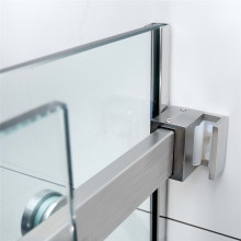 1180-2000x2000mm Wall to Wall Sliding Shower Screen Frameless Brushed Nickel Square Handle 10mm Glass