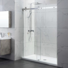 870-1180x2000mm Wall to Wall Sliding Shower Screen Frameless Chrome Stainless Steel Square Rail 10mm Glass Round Handle