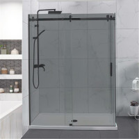 1180-1800x2000mm Grey Glass Sliding Shower Screen L Shape Frameless Black Stainless Steel Square Rail 10mm Glass with Return Panel