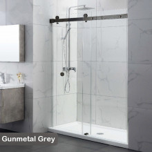 870-1180x2000mm Wall to Wall Sliding Shower Screen Frameless Gunmetal Grey Stainless Steel Square Rail 10mm Glass SS304 With Round Handle
