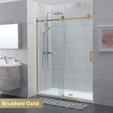 1180-2000x2000mm Wall to Wall Sliding Shower Screen Frameless Brushed Gold Square Handle 10mm Glass