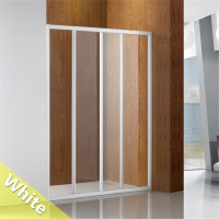 800/900mm White Wall to Wall Sliding Shower Screen Framed 3 Panel Doors 6mm Tempered Glass