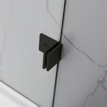From 800mm to 1200mm Square Shower Screen Pivot Door With Return Panel BLACK Frameless 10mm Glass 2000mm Height
