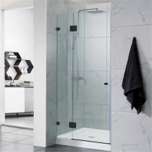 From 700mm to 1300mm Black Wall to Wall Shower Screen Pivot Door Frameless 10mm Glass 2000mm Height