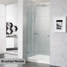 685-1400mm Wall to Wall Shower Screen Hinge and Door Panel Brushed Nickel Fittings Frameless 10mm Glass