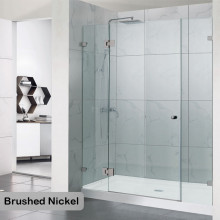 1090-2600mm 3 Panels Wall to Wall Shower Screen Frameless 10mm Glass Brushed Nickel Fittings
