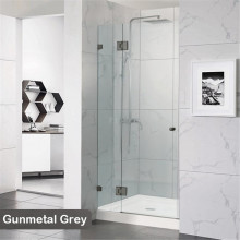 685-1400mm Wall to Wall Shower Screen Hinge and Door Panel Gunmetal Grey Fittings Frameless 10mm Glass