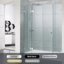 1090-2600mm 3 Panels Wall to Wall Shower Screen Frameless 10mm Glass 5 Colours Available