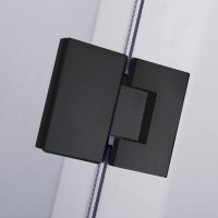 900/1000/1100mm Diamond Shape Shower Screen Pivot Door BLACK Frameless 10mm Glass 2000mm Height