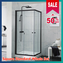 From 760 to 910mm Black Square Shower Screen Framed Double Sliding Aluminum 6mm Tempered Glass 1900mm Height