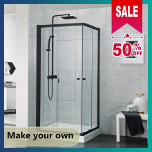 800-1200mm Square / Rectangle Shower Screen Framed Double Sliding Black Hardwares 6mm Tempered Glass 1900mm Height