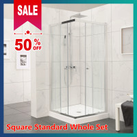 From 760 to 910mm Square Shower Screen Framed Double Sliding Chrome Aluminum 6mm Tempered Glass 1900mm Height
