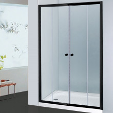 From 1400 to 2250mm Wall to Wall Shower Screen Framed Double Sliding Black Fittings Tempered Glass 1900mm Height