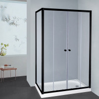 From 1400 to 2250mm L Shape Shower Screen Framed Double Sliding Black Fittings Tempered Glass 1900mm Height