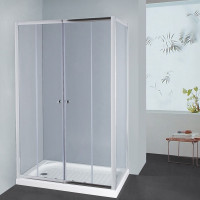 From 1400 to 2250mm L Shape Shower Screen Framed Double Sliding Chrome Fittings Tempered Glass 1900mm Height
