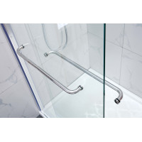 1180-1800x2000mm Wall to Wall Sliding Shower Screen Frameless Chrome / Matt Black Rail 10mm Glass SS304 With Towel Bar