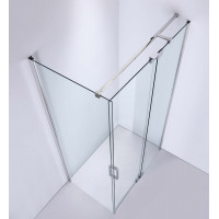 800-1100x2000mm L Shape Shower Screen Adjustable Pivotal Door Chrome Aluminum Frameless 10mm Glass with Return Panel