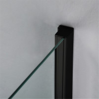 1040-1750x1900mm Black Shower Screen Sliding Door Wall to Wall Adjustable Aluminum Framed 6mm Glass