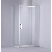 1040-1750x1900mm L Shape Shower Screen Sliding Door Chrome Aluminum Framed 6mm Glass with Return Panel