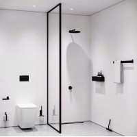 900/1000x2100mm Black Fully Framed Shower Screen Single Door Fixed Panel Walk-in 10mm Tempered Glass Left or Right Side