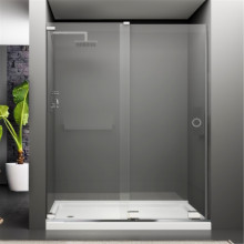 1150-1450mm Wall to Wall Sliding Shower Screen Frameless In-glass Circle Cut Handle 10mm Tempered Glass