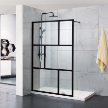 1000-1100x2000mm Black Fully Framed Shower Screen Grid Single Door Fixed Panel Walk-in 6mm Tempered Small Glass Left or Right Side