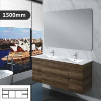 1500mm Dark Timber Wall Hung Bathroom Vanity Doors Drawers Cabinet Only