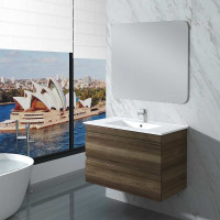 900mm Dark Timber Wall Hung Bathroom Vanity 2 Drawers Cabinet Only