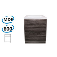 600x460x850mm Bathroom Floor Vanity Freestanding Dark Grey Wood Grain PVC Filmed Kick-board Cabinet ONLY & Ceramic / Poly Top Available