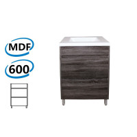 600x460x850mm Bathroom Floor Vanity Freestanding Dark Grey Wood Grain PVC Filmed Cabinet ONLY & Ceramic / Poly Top Available