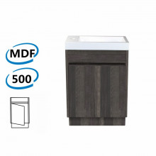 500x250x850mm PVC Filmed Floor Mini Bathroom Vanity Dark Grey Cabinet Poly Top Kickboard Freestanding
