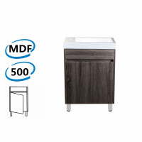500x250x830mm PVC Filmed Floor Mini Bathroom Vanity Dark Grey Poly Top Freestanding