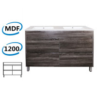 1200x460x850mm Bathroom Floor Vanity Freestanding Dark Grey Wood Grain PVC Filmed Cabinet ONLY & Double Bowls Ceramic Top Available